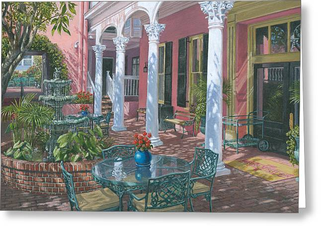 Prints For Sale Art Greeting Cards - Meeting Street Inn Charleston Greeting Card by Richard Harpum