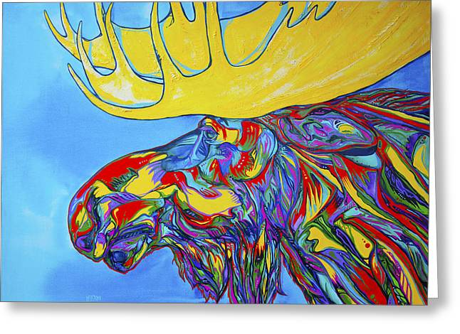 Vivid Colour Paintings Greeting Cards - Mega Moose Greeting Card by Derrick Higgins