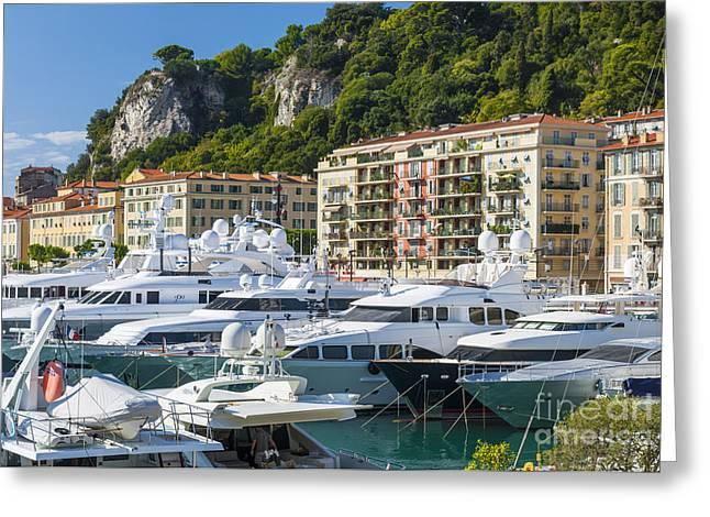 Mega Yachts In Port Of Nice France Greeting Card by Elena Elisseeva