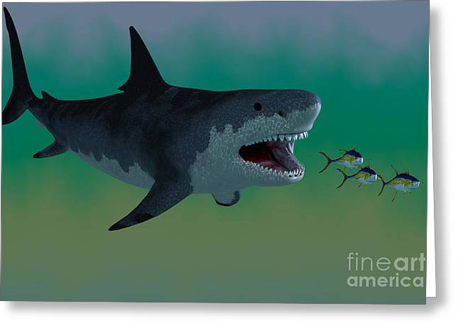 Sea Life Digital Greeting Cards - Megalodon Shark Attack Greeting Card by Corey Ford