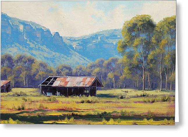 Shed Paintings Greeting Cards - Megalong Valley Shed Greeting Card by Graham Gercken