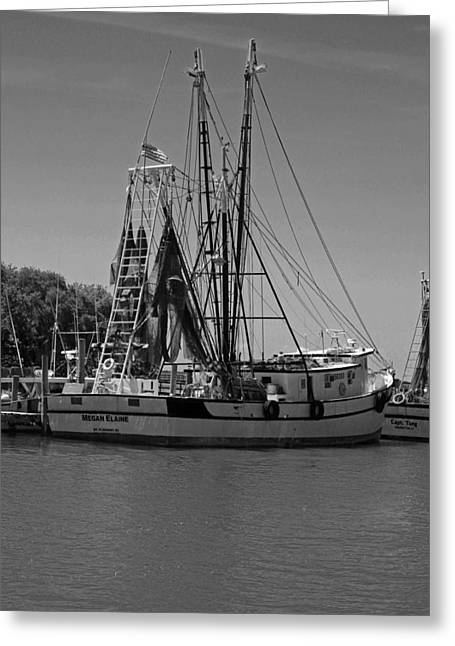 Fishing Creek Greeting Cards - Megan and Elaine in Black and White Greeting Card by Suzanne Gaff