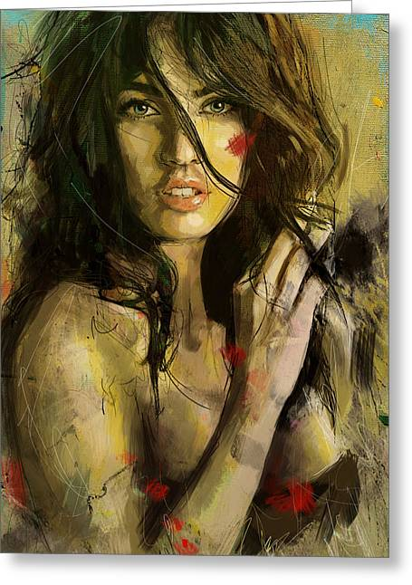 Megan Greeting Cards - Megan Fox Greeting Card by Corporate Art Task Force
