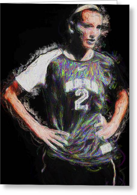 Monument Circle Greeting Cards - Megan hock IUPUI Painted Digitally Soccer Futbol Greeting Card by David Haskett