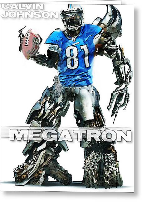League Greeting Cards - Megatron-Calvin Johnson Greeting Card by Peter Chilelli