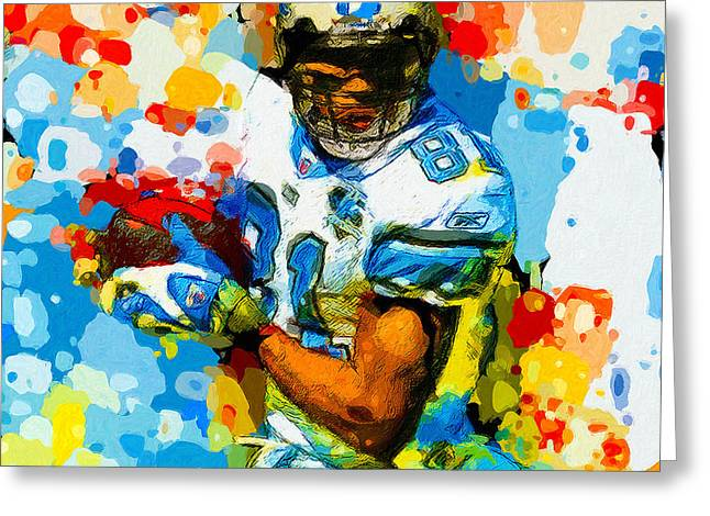 Pro Football Paintings Greeting Cards - Megatron Number One Greeting Card by John Farr