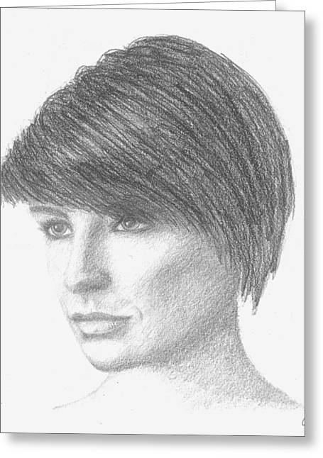 Cob Drawings Greeting Cards - Meghan Sketch Greeting Card by Conor OBrien