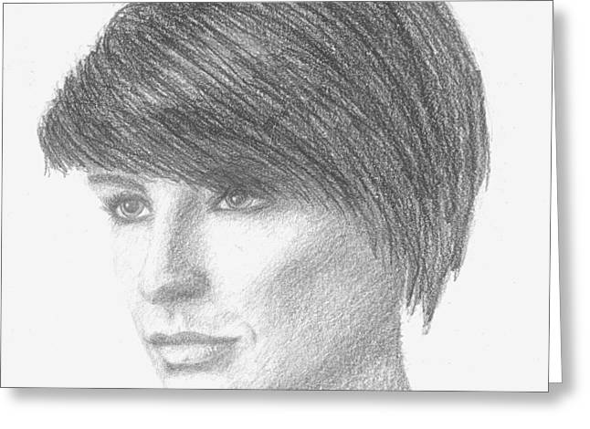 Conor Drawings Greeting Cards - Meghan Sketch Greeting Card by Conor OBrien