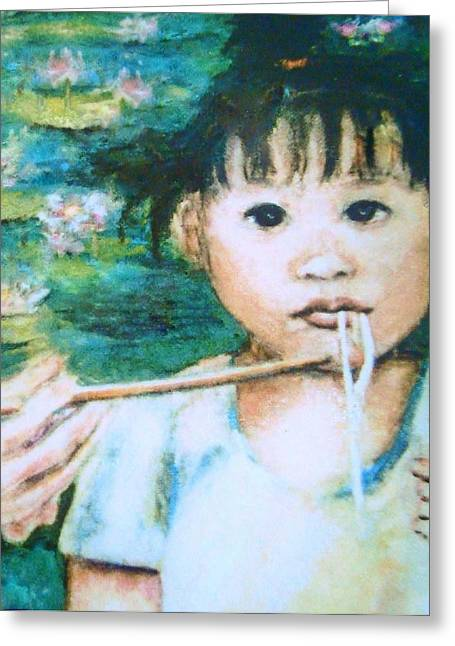Noodles Paintings Greeting Cards - Mei mei eat eat Greeting Card by Shannon Lee