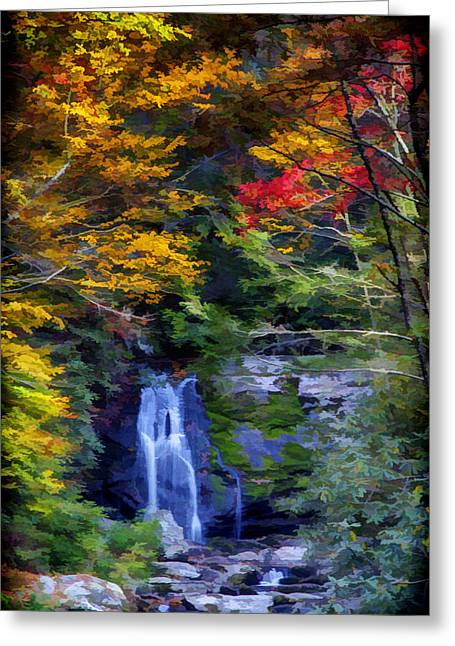 Falls Greeting Cards - Meigs Falls in the Great Smoky Mountains National Park During Autumn Greeting Card by John Haldane