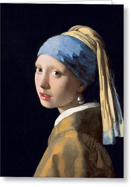 Vermeer Paintings Greeting Cards - Meisje met de parel Greeting Card by Vermeer