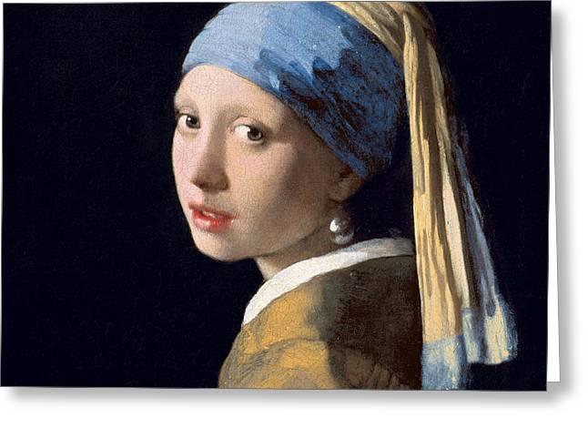 Vermeer Greeting Cards - Meisje met de parel Greeting Card by Celestial Images