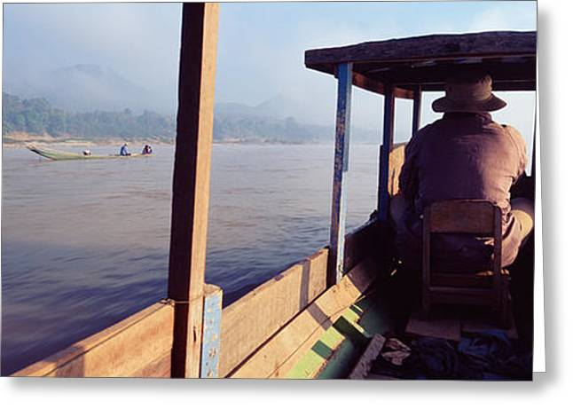 Boatman Greeting Cards - Mekong River, Luang Prabang, Laos Greeting Card by Panoramic Images