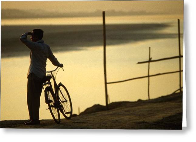 World In Between Greeting Cards - Mekong River sunset view Vientiane biker Greeting Card by Blair Seitz