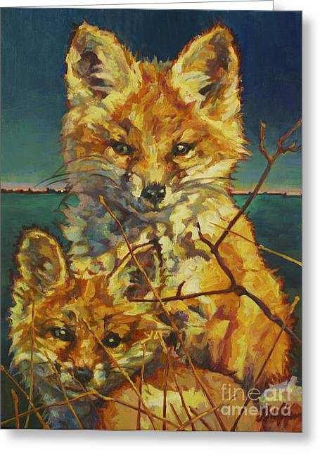 Litter Mates Greeting Cards - Mel And Todd Greeting Card by Patricia A Griffin