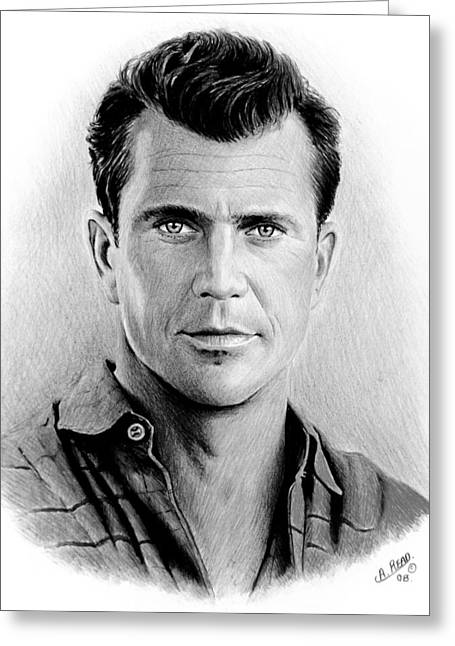 Featured Drawings Greeting Cards - Mel Gibson bw Greeting Card by Andrew Read