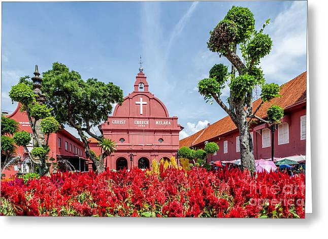 Religious Digital Art Greeting Cards - Melaka Red Square Greeting Card by Adrian Evans
