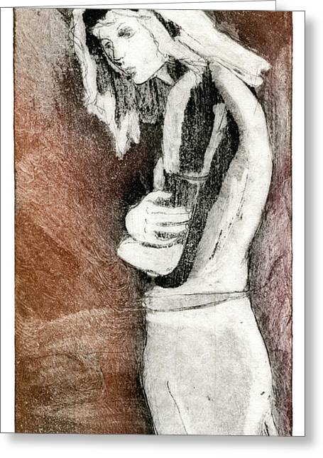 Human Beings Drawings Greeting Cards - Melancholy - Etching - Girl - Body - Sadness - Stooping - Woman - Fine Art Print - Stock Image  Greeting Card by Urft Valley Art