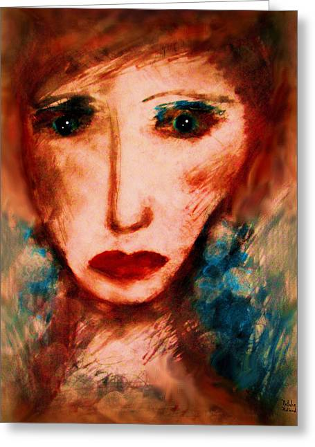 Female ist Mixed Media Greeting Cards - Melancholy Greeting Card by Natalie Holland