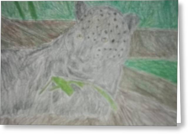 Etc. Drawings Greeting Cards - Melanistic Jaguar Drawing On Paper Greeting Card by William Sahir House