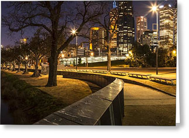 Melbourne Photographs Greeting Cards - Melbourne and Yarra River Panorama Greeting Card by Colin and Linda McKie