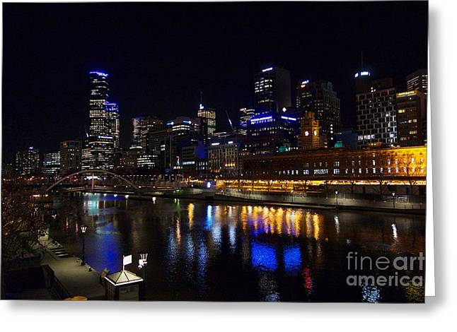 Melbourne Riverside At Night Greeting Card by Marie Viant