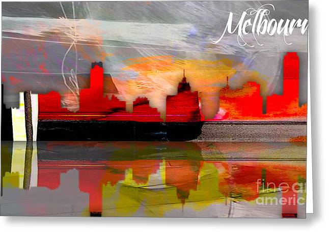 Australia Map Greeting Cards - Melbourne Australia Skyline Watercolor Greeting Card by Marvin Blaine