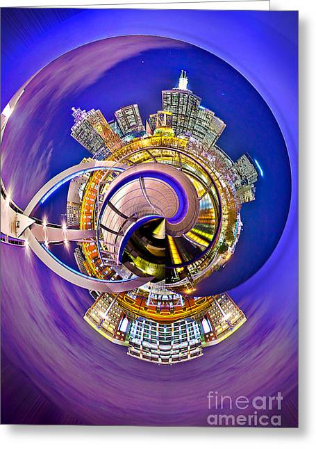 Colorful Photos Greeting Cards - Melbourne City Skyline Circagraph 2 Greeting Card by Az Jackson