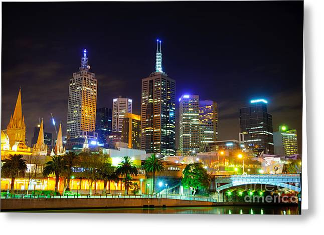 Melbourne City Skyline - Skyscapers And Lights Greeting Card by David Hill