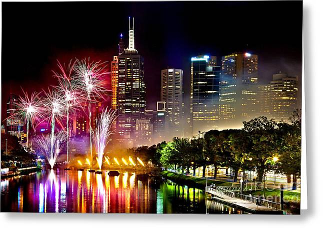Victoria Photographs Greeting Cards - Melbourne Fireworks Spectacular Greeting Card by Az Jackson