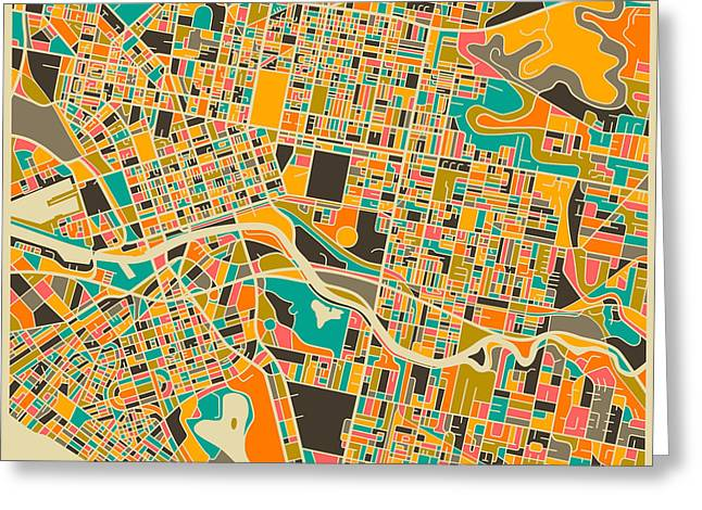Australia Map Greeting Cards - Melbourne Greeting Card by Jazzberry Blue