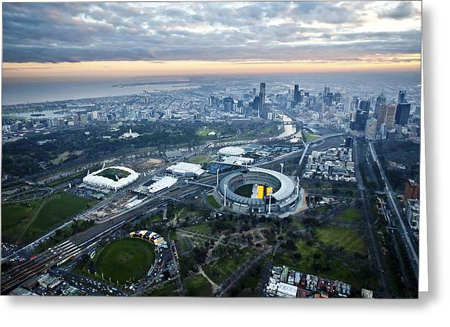 Oblique Greeting Cards - Melbourne Park, Melbourne Greeting Card by Brett Price