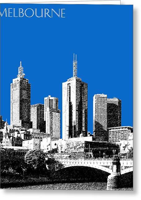 Melbourne - Australia Greeting Cards - Melbourne Skyline 1 - Blue Greeting Card by DB Artist