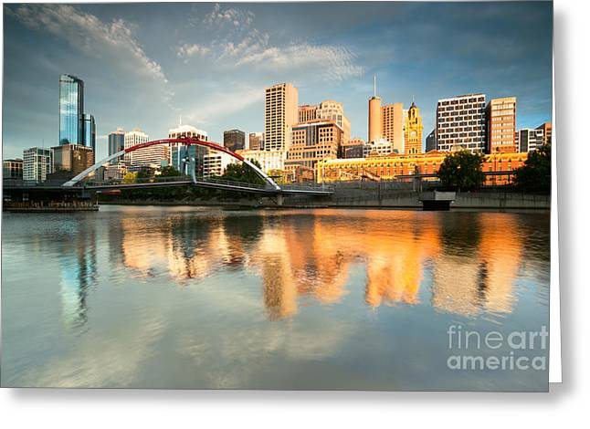 Australia - Australasia Greeting Cards - Melbourne skyline at sunrise Greeting Card by Matteo Colombo