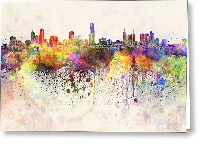 Melbourne - Australia Greeting Cards - Melbourne skyline in watercolor background Greeting Card by Pablo Romero
