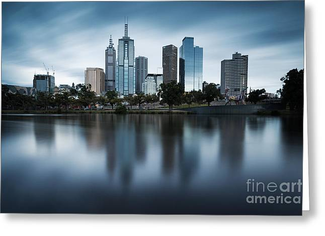 Australasia Greeting Cards - Melbourne skyline reflection Greeting Card by Matteo Colombo