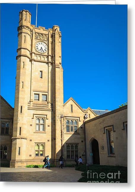 Melbourne University Clock Tower - Melbourne - Australia Greeting Card by David Hill