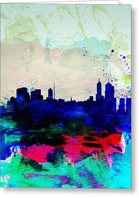 Melbourne Greeting Cards - Melbourne Watercolor Skyline 2 Greeting Card by Naxart Studio