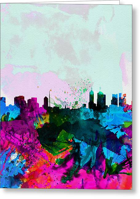 Melbourne Greeting Cards - Melbourne Watercolor Skyline Greeting Card by Naxart Studio