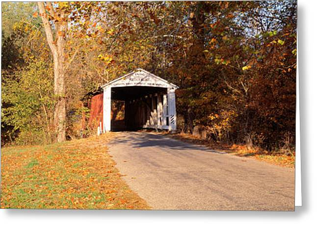 Roadway Photographs Greeting Cards - Melcher Covered Bridge Parke Co In Usa Greeting Card by Panoramic Images