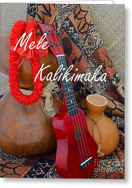 Lauhala Greeting Cards - Mele Kalikimaka with Red Ribbon Lei Greeting Card by Mary Deal