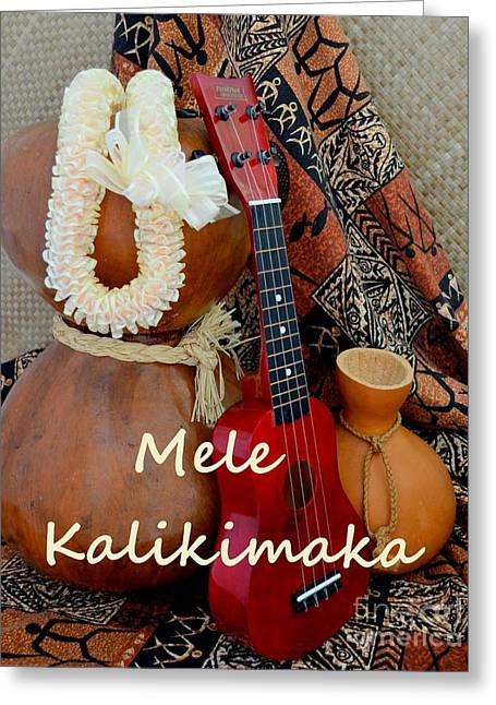 Lauhala Greeting Cards - Mele Kalikimaka with White Ribbon Lei Greeting Card by Mary Deal