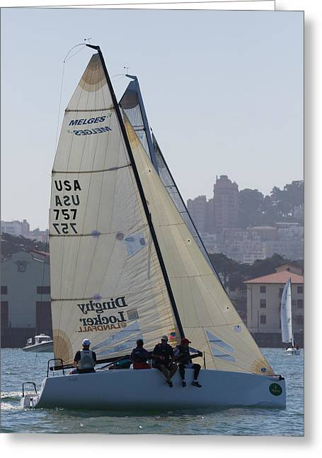Sausalito Greeting Cards - Melges 24 San Francisco Greeting Card by Steven Lapkin