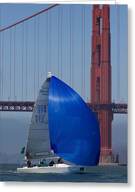Marin County Greeting Cards - Melges At The Gate Greeting Card by Steven Lapkin