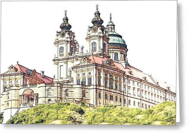 Europe Mixed Media Greeting Cards - Melk Abbey in Lower Austria Greeting Card by Maciej Froncisz