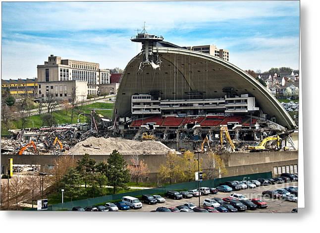 Bulldozer Greeting Cards - Mellon Arena Partially Deconstructed Greeting Card by Amy Cicconi