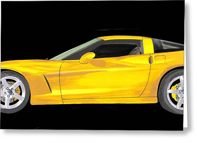 Enhanced Paintings Greeting Cards - Mellow Yellow Corvette C 6 Greeting Card by Jack Pumphrey