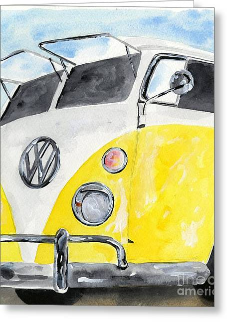 Surfin Greeting Cards - Mellow Yellow Surf Wagon Greeting Card by Sheryl Heatherly Hawkins