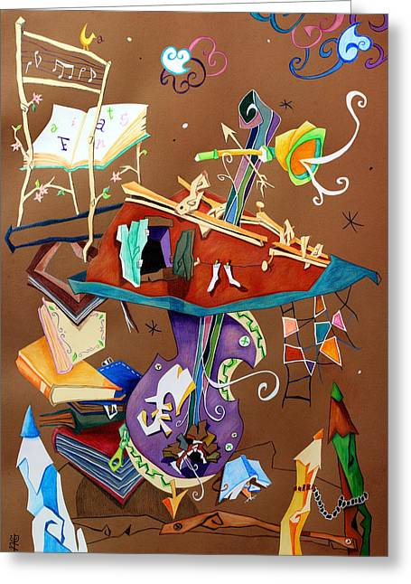 Venice Pastels Greeting Cards - MeLoDia Del SiLeNZio - Art Collage - Music Concert for Violoncello Greeting Card by Arte Venezia