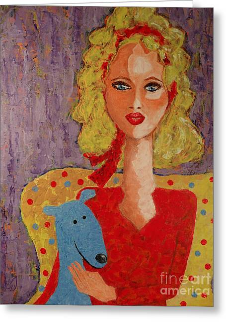 Portrait With Red Chair Greeting Cards - Melody and Blue Greeting Card by Music of the Heart